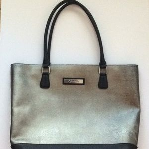 Calvin Klein purse/tote pewter and black